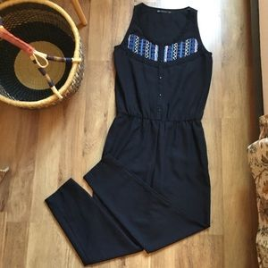 Zara trafulac med. black beaded sleeveless romper